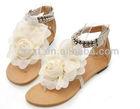 beautiful white lace flower women flat slipper sandals