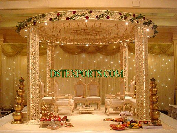 See larger image INDIAN WEDDING GOLDEN WOODEN MANDAP
