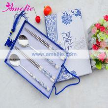 A0541 Wholesale Ceramic Handle Spoon And Chopsticks Wedding Set