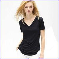 Custom V neck sexy lady cotton tshirt