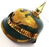German Green pickelhaube Leather Helmet with Brass strip