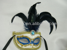 hand painting/new design/glitter powder /ornament golden /blue//plastic/feater party mask