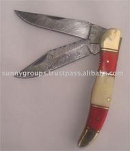 Damascus Pokcet Knife Double Blade