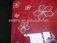 High gloss MDF uv board / PETG film / 3d textured decorative panel/ China red