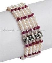 Handmade Pearl Natural African Ruby Beads Gemstone Bracelet - PayPal