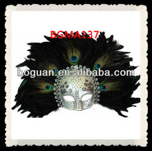 Wholesale Black Silver Peacock Feather Masks
