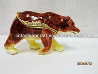 Rhinestone decorated enamel oil painted polar bear hand painted trinket boxes