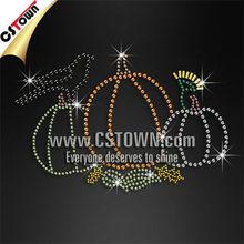 Halloween rhinestone design pumpkins and pigeon iron on transfer