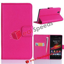 Cover Case for Ericsson Xperia Z!#L36H-3005A#Wallet With Card Slots Stand Leather Cover Case for Sony Ericsson Xperia Z L36H