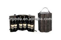 round leather MDF 6 pcs pack wine box