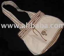 PERUVIAN 100% HANDMADE Bag of natural color grown cotton