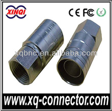 Good Quality Copper Double Shielding Circle Crimp F Male Connector For RG174 Cable