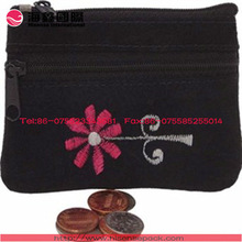 Velvet coin bag printed flower
