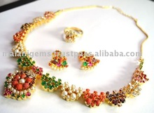 Necklace set and earring with ring indian jewellery (Semi precious stone)