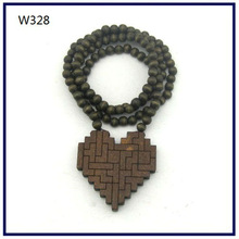 Wood Necklace Hip hop Brown Heart wall Beaded Fashion rosary Factory price W328