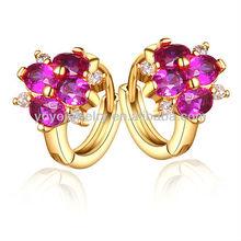 Fashionable design attractive ruby earring flower shape 18k rose golden earring