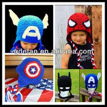New arrival crochet spider man bat man monster crochet hat hand crocheted baby full sets baby hair accessories