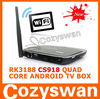 Google quad core Android mini pc with Remote control 1.8GHZ RAM 2GB ROM 8GB RK3188 CS918 TV BOX