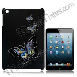 Black Background Elegant Butterfly Diamond Embossment Hard Case for iPad Mini