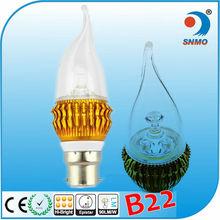 Warm wihte e14 b22 e27 led candle bulb 3w led wax candle lighting