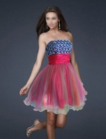 Pink Blue Beaded Dress with Multi Color Skirt