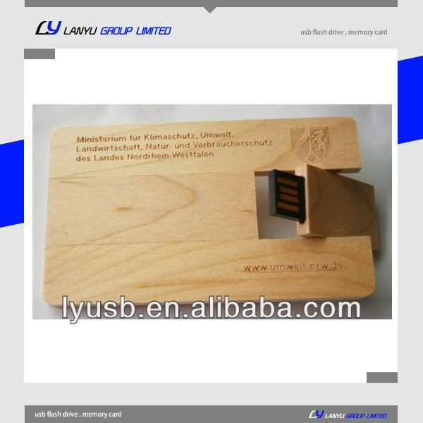 Creditcard Engraving logo wood usb flash drive ,wooden card usb stick , card 4gb upen drive wooden