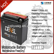 Maintenance Free Motorcycle battery for ev wheel chair battery 12volts 5ah