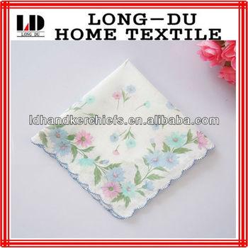 100% cotton printing flower design women handkerchief