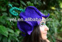 Halloween Party Headwear Felt Fairy Flower Leaf And Curly Stem Hat OOAK