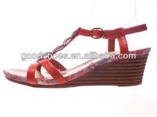 Wood print heel women fancy wedge heel shoes good quality comfortable