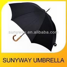 Black Stick Rain Umbrella Wooden Handle
