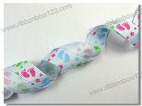 cute feet grosgrain print ribbon
