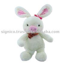 Plush soft white rabbit pink bow pig toy 60CM W 35CM