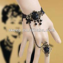 gothic black rose black lace charm bracelet ring set fashion bangle wristband DIY fashion accessory WS--156