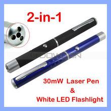 30mW Red Beam Astronomy Laser Light Pointer Pen + White LED Flashlight