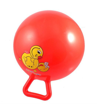 Smiling Face Pattern Red Inflatable Hippity Jumping Handle Ball Toy for Children