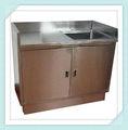 comercial aço inoxidável armário de cozinha com pia