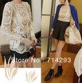 mujeres de encaje beige floral retro superior de punto de manga larga de ganchillo t camisa 2 9015 colores