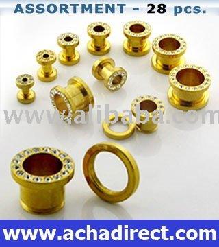 Plug piercing de cristal oro