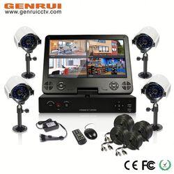 H.264 Full D1 Realtime recording,4pcs 600tvl waterproof cameras,10inch LCD Monitor,cctv keyboard controller