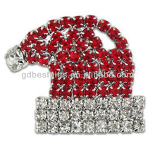 wholesale Rhinestone Santa Hat metal lapel Pin Badge
