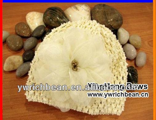 Knitting crochet pattern cute baby crochet hats caps with daisy flowerFH-49