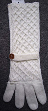 white acrylic net knitted long gloves with band and button