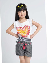 fashion sleeveless with 100% cotton childs t-shirts 2012
