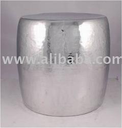 Cast Aluminum Polished Hammered Round Stool