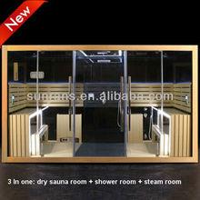 380*163*220CM New Design Multifution Hemlock Steam Sauna Shower Combination