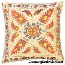 Pillow Cover Suzani Silk Embroidery Handmade