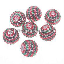 Christmas decoration resin rhinestone ball beads.Wholesale chunky 22mm red/green rhinestone resin decoration balls.
