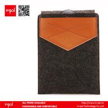 Premium hand-made designer wool felt sleeve for ipad mini with genuine leather slot
