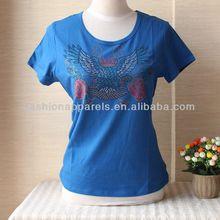 2013 Rhinestone t shirts Short Sleeve slim fit 100% cotton O-neck t shirt